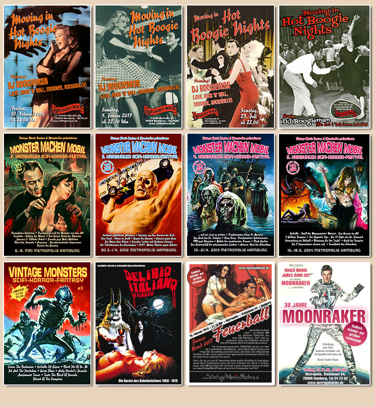 Hot Boogie Nights, Delirio Italiano, Monster machen Mobil, James Bond 007, Vintage Monsters
